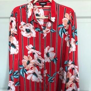 Express The City Red Stripe Floral XL Blouse